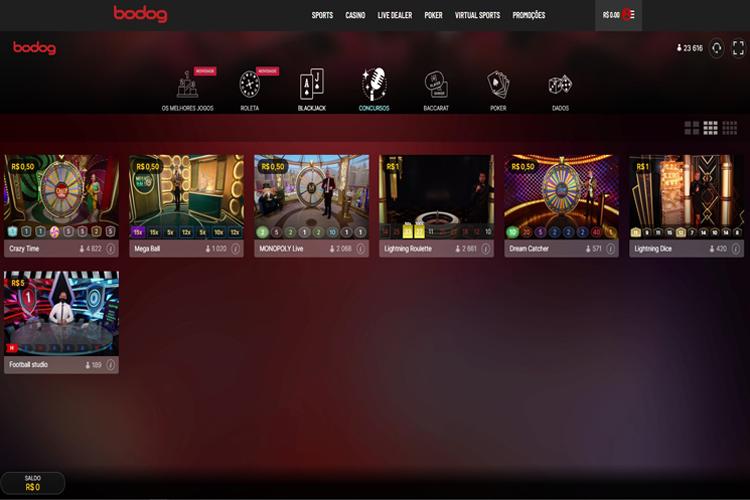 Visão do menu ao vivo do cassino Bodog